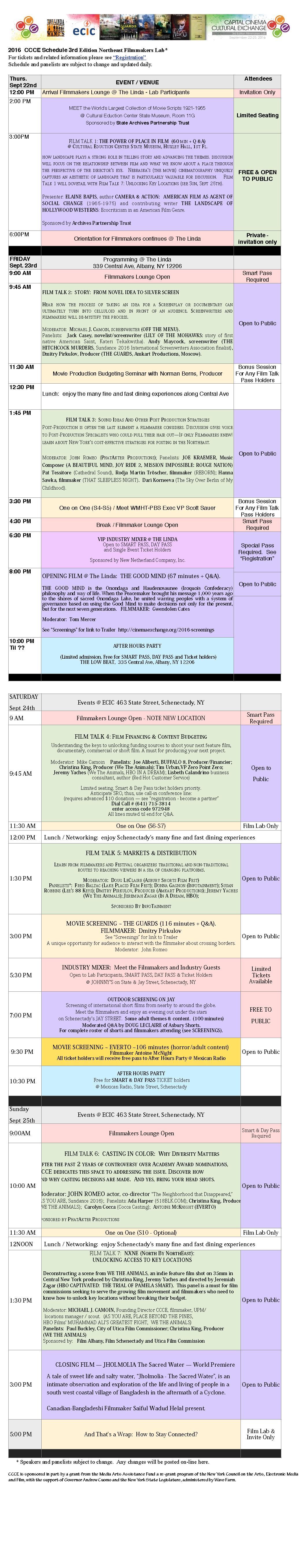 2016 3rd Edition Schedule